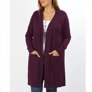 Zenana Outfitters Plum Cardigan Duster NWOT